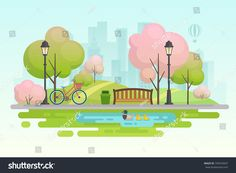 Spring City Park Vector Illustration Sponsored Ad City Spring Park Illustration Spring City Illustration Spring Park