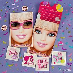 Barbie's all about trendy accessories! Add a chic touch to Barbie invitations with Barbie confetti and tattoos.