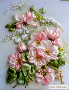 Silk Ribbon Embroidery, solf rose bouquet.