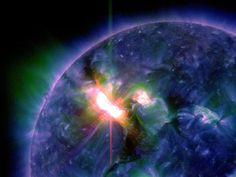 This week's largest solar flare is seen in a still from a NASA satellite video.  Image courtesy SDO/NASA