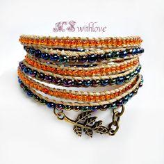Bronze Leaf Wrap Bracelet, Orange Beaded Bohemian Bracelet, Natural Hemp Cord Handmade Bracelet, Boho Three Wrap Bracelet by MSwithlove on Etsy