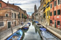 Venice is probably one of the most well known city's in Italy. Here is one HDR photograph of the canal with gondolas that goes through Venice Cities In Italy, Long Exposure, Urban Landscape, Landscape Photographers, Venice Italy, Hdr, Beautiful Landscapes, Most Beautiful, City