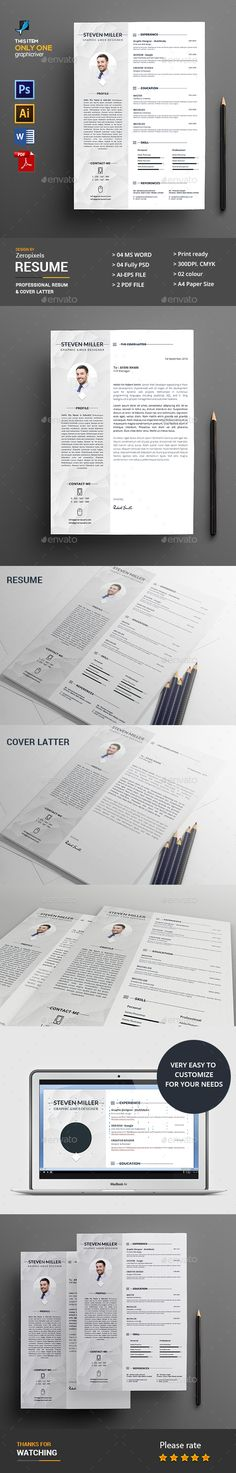 Resume Template PSD, Vector EPS, AI Illustrator, MS Word. Download here: http://graphicriver.net/item/resume/16610082?ref=ksioks
