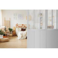 Cloison de séparation Indus blanche et verres armés Decor, Furniture, Room, Deco, Home Decor, Room Divider, Divider