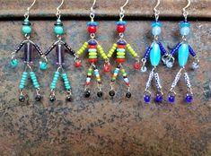 SIDEKICK friend little man/woman/person beaded boho earrings image 4 Gothic Earrings, Beaded Earrings, Etsy Earrings, Beaded Jewelry, Handmade Jewelry, Drop Earrings, Beaded Crafts, Jewelry Crafts, Types Of Earrings