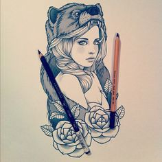 Bear #spirit #hood #drawing #roses #classic #tattoo