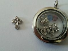 Cross with stones floating charm for glass living lockets