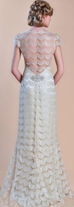 Claire Pettibone - Gold Eyelash Scalloped Vintage Lace Wedding Dress