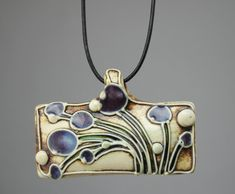 "Necklace | Carol Long. ""Purple Flowers"". Pottery"