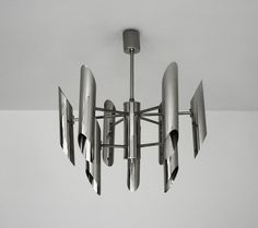 Reserved Italian Chrome Chandelier - 1970s