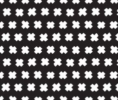 Black and white cross and abstract plus sign geometric grunge brush strokes scandinavian style print fabric by littlesmilemakers on Spoonflower - custom fabric