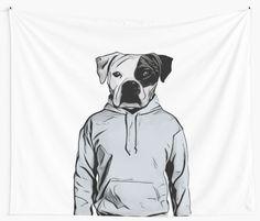 Cool Dog Wall Tapestry by Nicklas Gustafsson #dog #bulldog #boxer #human #illustration #hoody #hoodie #walltapestry #tapestry