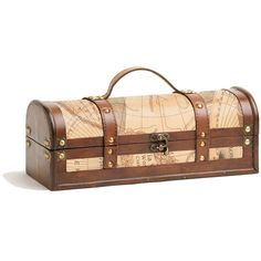 Old world charm rules with this wood and faux leather with brass buckle treasure map decorated wine box. Keep a vintage or special wine perfectly stored in this box with its wooden bottle insert and horizontal design.