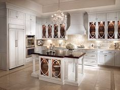 traditional white kitchen cabinet glass front - Google Search
