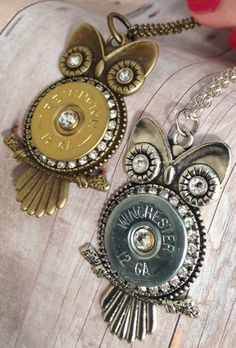 Owl Shotgun Shell Pendant Necklace in Antiqued Brass or Silver by ShotThruTheHeart on Etsy
