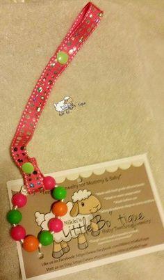 Pacifier holder binki clip pink bling by NikkisLittleBoTique, $5.00