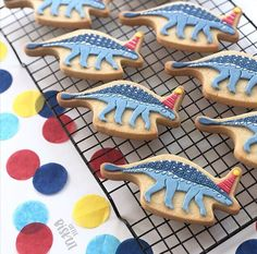 Partysaurus dinosaur cookies decorated with Satin Ice Fondant Dinosaur Cookies, Dinosaur Party, Dinosaur Birthday, Birthday Cake, Cake Cookies, Sugar Cookies, Satin Ice Fondant, Cakes For Boys, Cookie Decorating