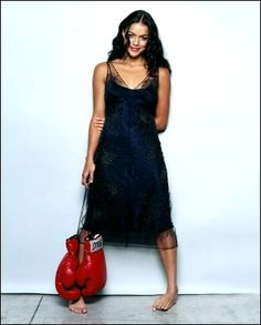 Michelle Rodriguez. Boxing gloves and barefoot.