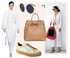 Look do dia de Alice Ferraz: Blazer e calça pantacourt brancos, camisa de seda perolada, óculos estilo 70's Chloé, bucket bag nude e tênis trabalhado no couro e com detalhes em lurex