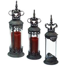 Melrose Set of 3 Renaissance Style Distressed Crown Top Cylinder Pillar Candle Lanterns Candle Holders