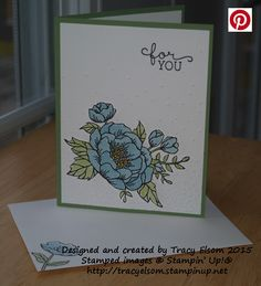 Card created using the Birthday Blooms Stamp Set from the Stampin' Up! 2016 Occasions Catalogue (available Jan 5, 2016).  http://tracyelsom.stampinup.net