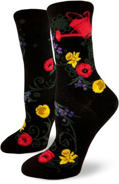 ModSock Modsock quite contrary, how does your garden grow? With poppies pretty, daffodils, and tulips all in a row! Take a stroll through the garden with original ModSocks women's crew.