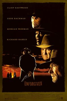 """""""Unforgiven"""" - Directed by Clint Eastwood. With Clint Eastwood, Gene Hackman, Morgan Freeman, Richard Harris. Retired Old West gunslinger William Munny reluctantly takes on one last job, with the help of his old partner and a young man. Streaming Vf, Streaming Movies, Hd Movies, Movies Online, Movies And Tv Shows, Movie Tv, Watch Movies, Horror Movies, Clint Eastwood"""