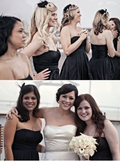 Love the bridesmaids dresses and hair pieces!