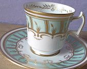 vintage English tea set, pastel blue tea cup and saucer set, Royal Chelsea bone china, art deco hand painted gold