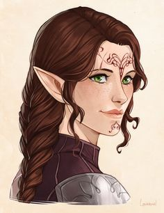 """lavellenchanted: """"I was very lucky and (as a birthday present for myself, haha!) was able to commission for a portrait of my Inquisitor, Eilidh Lavellan - she was wonderful to work with and has done a beautiful job that I'm so so happy. Fantasy Character Design, Character Design Inspiration, Character Concept, Character Art, High Fantasy, Fantasy Art, Dnd Characters, Fantasy Characters, Female Characters"""