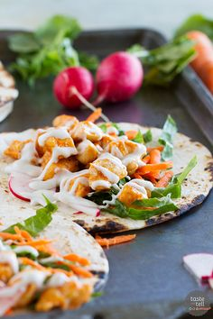 These buffalo chicken tacos are filled with all of your favorite buffalo chicken flavors, and they can be on the table in less than 30 minutes!:
