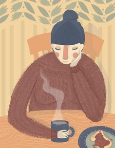 """eatsleepdraw: """" Fall is in the air. Time for hot coffee and cozy sweaters """""""