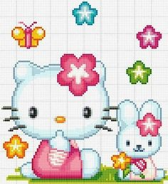 Hello kitty bunny cross stitch