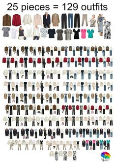 25 pieces = 129 outfits! How to Work Your Wardrobe 2