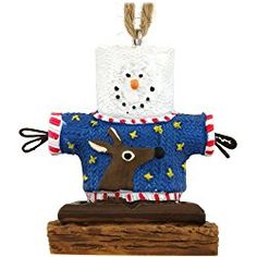 1 X Christmas Ornament- S'mores Man Wearing Ugly Sweater With Reindeer