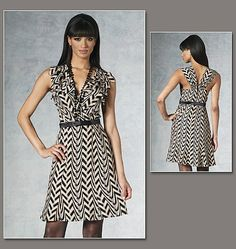 Vogue 1190, New uncut Sewing Pattern for Misses Dress size 6-12 or 14-20, Easy Dress Sewing Patten