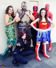 Marisol: Poison Ivy, Bane, Spiderman, Deadpool, Wonder Woman and Black Widow. Poison Ivy's costume was a made by adding dollar store leaves on a black dress. Bane's vest was made with...