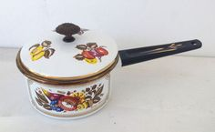 GEORGE BRIARD MID CENTURY ENAMELWARE ASSORTED FRUITS SAUCE PAN NEVER USED!