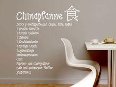 Wandtattoo Rezept Chinapfanne mit chinesischen Zeichen
