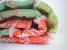 baby girl rag quilt, pastel nursery bedding, shabby chic crib bedding