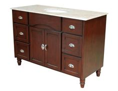Yosemite Home Decor Single 48 in. W Espresso Birch with MDF Vanity - YV2240-48E. YV2240-48E - Single 48 in. W Espresso Birch with MDF Vanity Espresso finish birch with MDF cabinet, White Ceramic basin, Cream Marble top, Single vanity Product Specifications Main Cabinet Dimensions 48 W x 22 D x 34 H (inc.. . See More Vanities at http://www.ourgreatshop.com/Vanities-C705.aspx