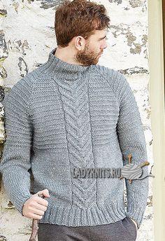 Мужской свитер реглан спицами с косами по центру