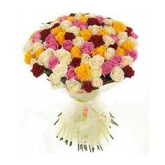 Доставка на букет от 101 разноцветни рози в Бургас