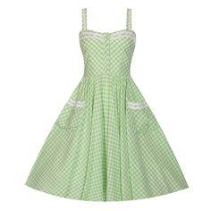 Corinna Green Gingham Swing Dress | Vintage Style Dresses - Lindy Bop