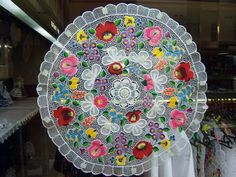 The most colorful folk art style of Hungary - it is coming from the Southern town Kalocsa thus it is called Kalocsai . Machine Embroidery Designs, Embroidery Stitches, Hungarian Embroidery, Lace Making, Irish Crochet, Beautiful Hands, Hungary, Outdoor Blanket, Artisan