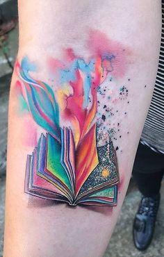 Awe-inspiring Book Tattoos for Literature Lovers - awesome watercolor book tattoo © tattoo artist Ondrash 💕📚💕📚💕📚💕 - Body Art Tattoos, Small Tattoos, Sleeve Tattoos, Tatoos, Key Tattoos, Tattoo Ink, Tattoos For Lovers, Tattoos For Women, Bookish Tattoos