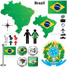 Brazil Map #GraphicRiver Vector of Brazil set with detailed country shape with region borders, flags and icons. Package contains: EPS (10 version), JPG (5000×5000 pixels, RGB).