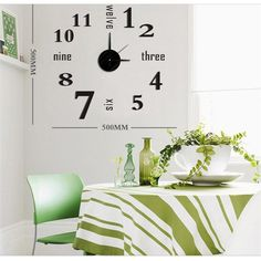 Modern DIY Large Wall Clock New 3D Mirror Surface Sticker Home Room Office Decor