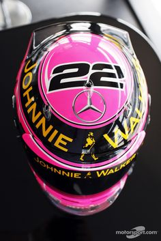 A special pink helmet for Jenson Button, McLaren, in memory of his late father John Button