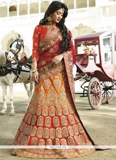 Jazzy Satin Silk Red And Orange Resham Work Lehenga Choli Model: YOLEN4194